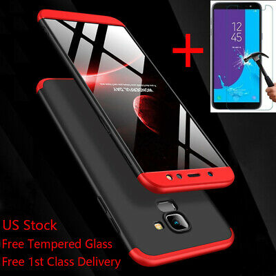 For Samsung Galaxy A6/J8/J4/J6 Plus 2018 Shockproof 360 Slim Case+Tempered Glass