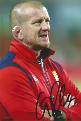 BRITISH LIONS & ENGLAND RUGBY UNION: GRAHAM ROWNTREE SIGNED 6x4 ACTION PHOTO+COA