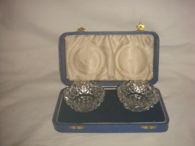 Pair of Antique Cut Glass Salts In Original Box