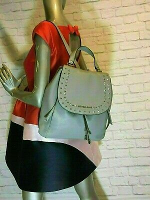 120b26b7039c2 NWT Authentic MICHAEL KORS RILEY soft pebbled LEATHER BACKPACK Ash Grey  color