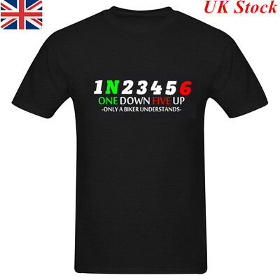 Mens 1 N 2 3 4 5 6 One Down 5 Up Motorcycle Motorbike Gear Shift T-Shirt Tee New
