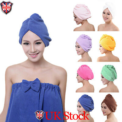 UK Microfibre After Shower Hair Drying Wrap Towel Quick Dry Hair Hat Cap Turban