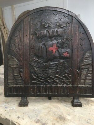 RARE ANTIQUE SOLID OAK CARVED FIRE GUARD FIRE SCREEN PERIOD 1700s ENGLISH NAVY.
