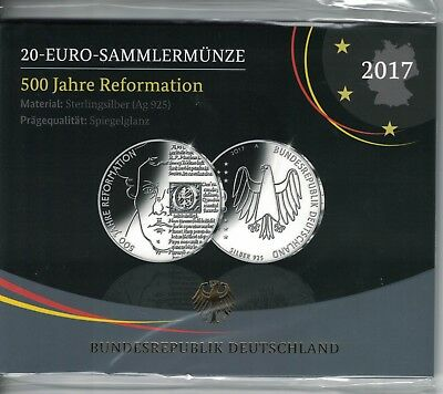 BRD 20 Euro 2017,500 Jahre Reformation, Silber *PP/Proof*, OvP   (17714)
