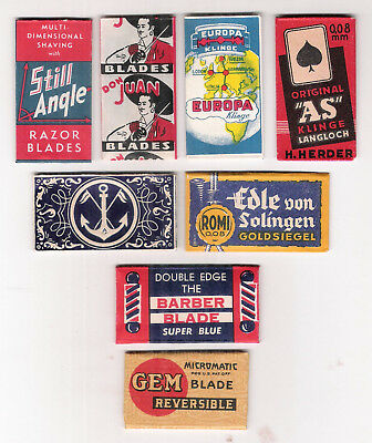 8 VINTAGE SAFETY RAZOR BLADES / lamette da barba / lames / nice old advertising