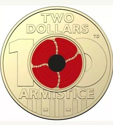 Australia 2018 Remembrance Day Armistice Red Poppy $2 Two Dollars Coin