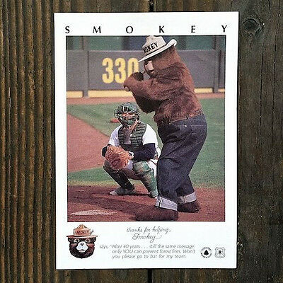 Original SMOKEY THE BEAR BASEBALL CARD 1985 Come Bat for Smokeys Team UNUSED
