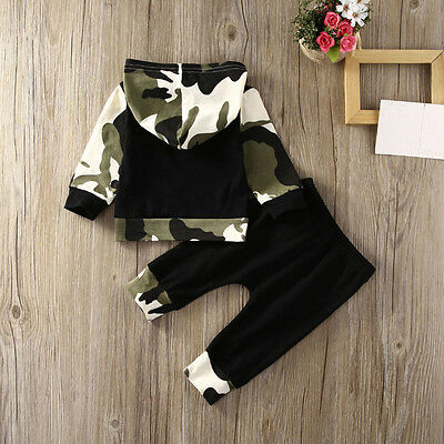 2PCS Toddler Newborn Baby Boy Camouflage Hooded Tops Pants Outfits Clothes AB