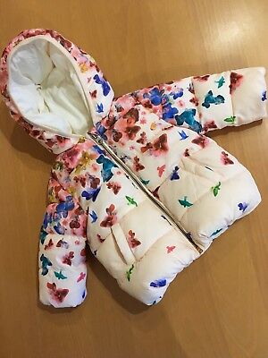 NWOT AGE 3/6 Mths ZARA BABY GIRL PALE PINK FLORAL PADDED BUBBLE HEM JACKET COAT