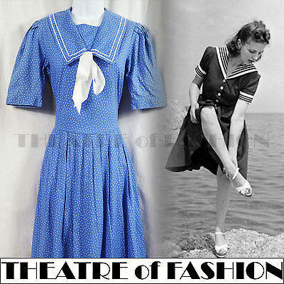 DRESS 50s 40s VINTAGE LAURA ASHLEY SAILOR WEDDING WAR BRIDE WWII 30s ROCKABILLY
