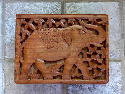 """Vintage Hand Carved """"Indian Elephant"""" Wooden Box From India Jewelry/Trinket Box."""