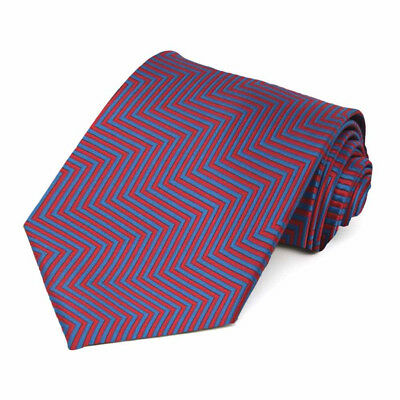 XL Red Kimberly Chevron Stripe Extra Long Necktie