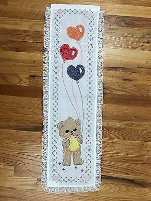 VTG Handmade Embroidered Bears And Balloons Wall Hanging Growth Measure Chart AH