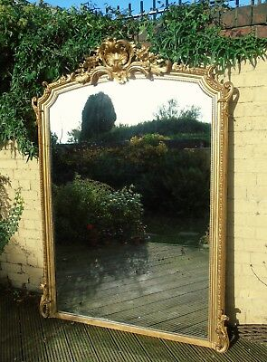 Very Large Antique French Arched Overmantel Mirror