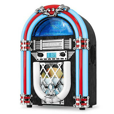 Countertop Jukebox FM Radio Retro Desktop with Built-in Bluetooth and CD Player