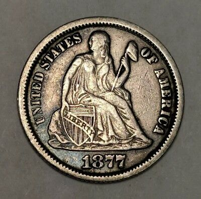1877 CC Seated Liberty Dime VF XF - Very Fine Extra Fine