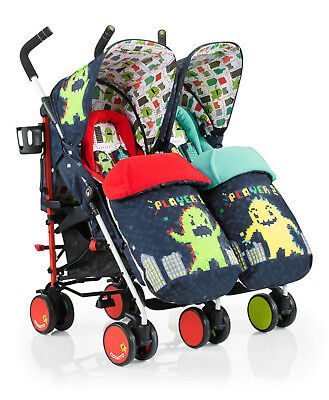 New Cosatto supa dupa double pushchair monster arcade footmuffs & pvc from birth