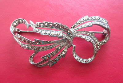 Vintage 30's/40's ART DECO RHODIUM PLATED MARCASITE BROOCH Silver Tone Artistic
