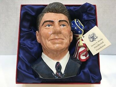 "Royal Doulton RONALD REAGAN MUG 1984 Signed Certified Limited Edition 7.75"" Tall"