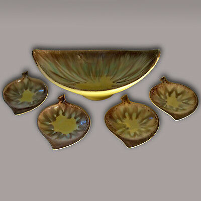 Rare Mid-Century Boomerang Sunburst Serving Bowl 4 Trays Dumler Breiden Germany