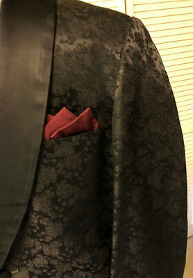 Black Brocade Tux Jacket by First Nighter Formals, NYC, 40-41