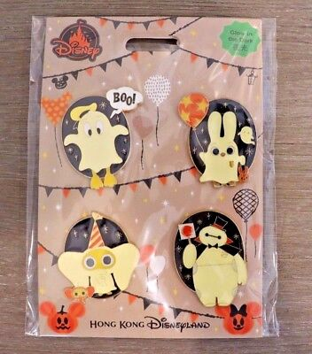 HKDL Disneyland Disney Halloween Ghost Zootopia Pin Set Judy Hopps Baymax Donald