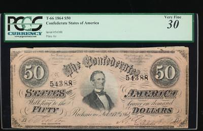 AC T-66 $50 1864 Confederate Currency CSA PCGS 30 comment