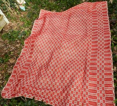 """Vintage Red and White Design Woven Coverlet / Bedspread - 66"""" X 88"""""""
