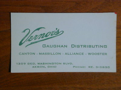 Vernor's Ginger Ale Vintage 1958 Business Card Akron Oh Distributor Classic Logo