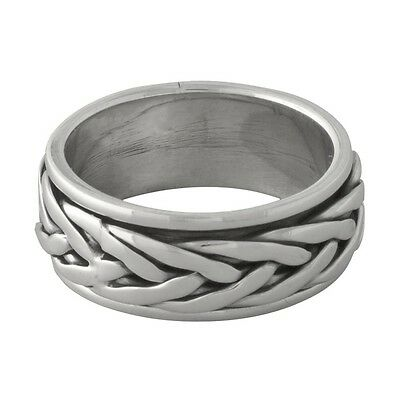 Brand New Solid Sterling 925 Silver Tibetan Braid Prayer Spin Ring - size 7 1/2
