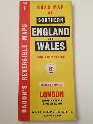 Bacon's Reversable Road Map London, S. England & Wales, Johnston, Vintage, Large