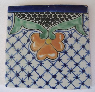 Beautiful vintage hand made Mexican Clay Tile
