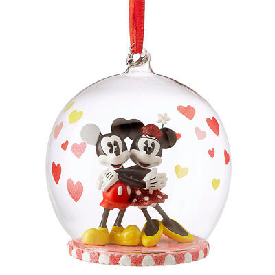 Disney Store 2018 Mickey and Minnie Mouse Glass Globe Sketchbook Ornament FAST