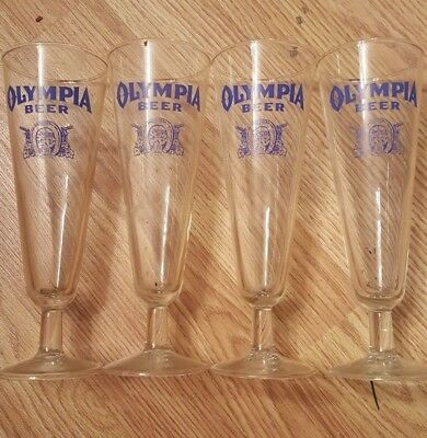 Vintage Olympia Beer Glasses Set of 4 Footed Horseshoe Logo Brewery Collectible