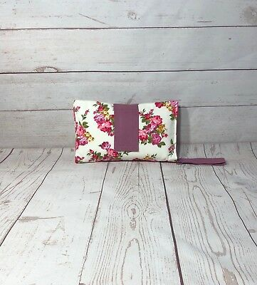 Nappy wallet diaper clutch baby diaper bag vintage floral pink diaper clutch