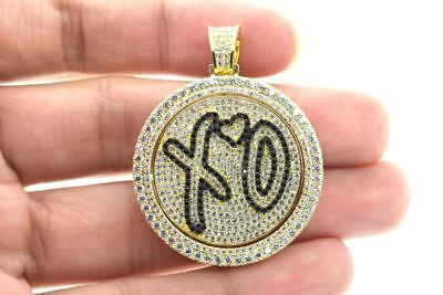 Hip Hop 14K Gold Plated XO Heart Rapper Iced Out Spinner Pendant with Rope Chain