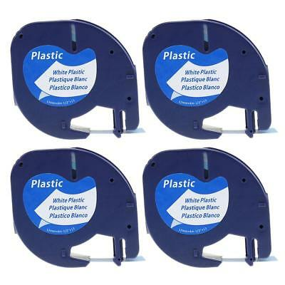 4PK 91331 91201 Compatible for DYMO LetraTag Tapes White Plastic Label Tape 12mm