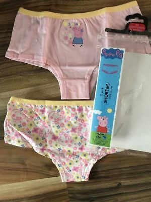 2 x Girls Peppa Pig Underwear Pants Knickers Age 2/3, 3/4,  4/5,  And 5/6