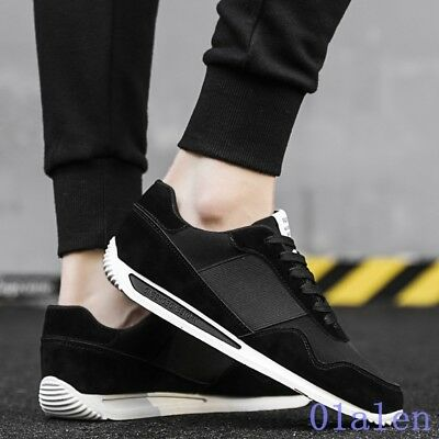 Mens Lace Up Round Toe Leather Stitching Skidproof Leisure Athletic Shoes  Suede 28544184f