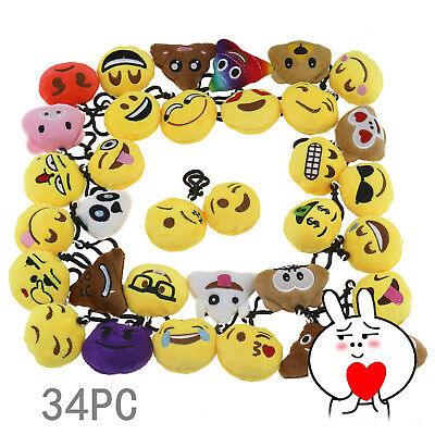 Emoji Smile Cry Anger Face Expression Plush 34x Key Chain Collection Toy Gift