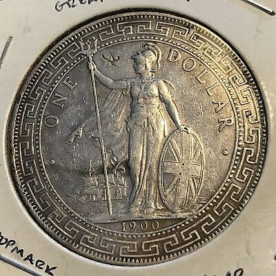 1900 Great Britain Silver Trade Dollar With Chopmarks Nice Coin