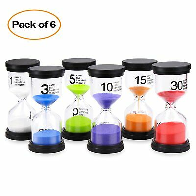 Sand Timer Mosskic 6 Colors Hourglass Timer 1 3 5 10 15 30 minutes Sandglass 6pk