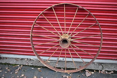 "LARGE Antique Wagon Tractor Wheel-Metal-18 Spoke-43"" Tall-#2-Country Americana"