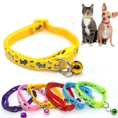 Lovely Cartoon print With Bell Pet Collar Small For Cat Kitten Dog Puppy Safe