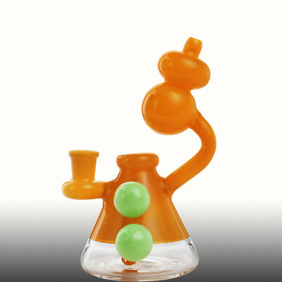 Yellow Bottle Gourd Recycler Bubbler Water Pipe Bong Bowl Thick Glass Hookah Rig