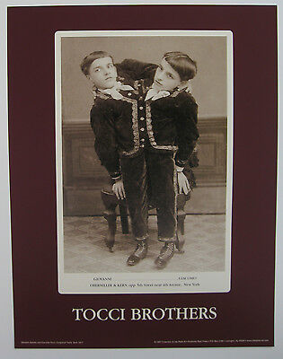 Tocci Brothers Conjoined Twins Freak Show Poster Obermiller & Kerns Cabinet Card