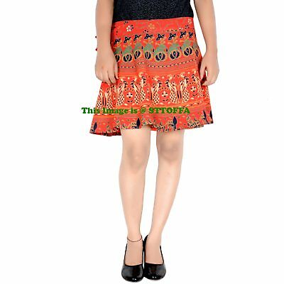Indian Women Short Cotton Skirt Hippie Ombre Mandala Print Skirt Waist Skirt