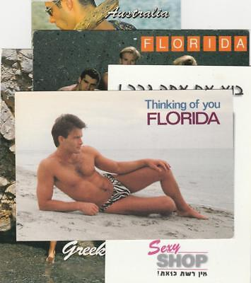 5 PC Postcards Gay Interest~Tel Aviv Sexy Shop~Florida~Greece~Australia~1990's