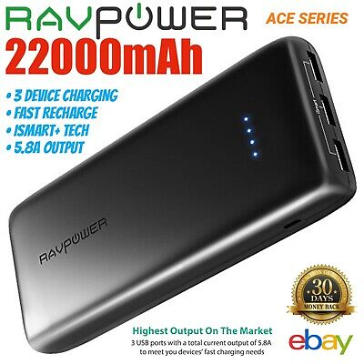 RAVPower 22000mAh External Battery Power Bank Portable Charge USB Phone RP-PB052
