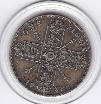 1921   King  George  V  Florin  (2/-)  Sterling Silver (50%)  Coin